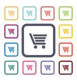 shopping cart flat icons set vector image