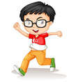 Singapore boy wearing glasses vector image vector image