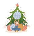 small woman character decorating christmas tree vector image vector image