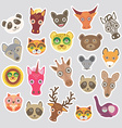 Sticker set of funny animals muzzle vector image vector image