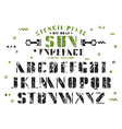 Stock set of sanserif stencil plate font vector image vector image