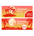 summer travel tours horizontal banners flyers set vector image