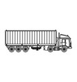 truck container shipping cargo outline vector image vector image