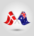 two crossed danish and australian flags vector image vector image