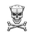 vintage monochrome sailor skull vector image