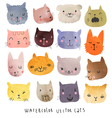 Watercolor set cats vector image