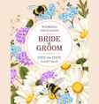wedding invitation with meadow flowers vector image vector image