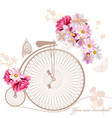 with art bicycle and flowers in vintage style vector image vector image