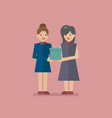 woman giving a gift box to another vector image vector image