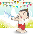 Young Asian boy playing Songkran Festival vector image
