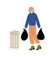 young woman holding trash sack household waste vector image vector image