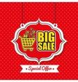poster big sale shop cart vintage red polka dot vector image