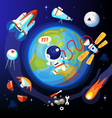 Colorful space and Earth icons vector image