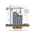 Thin line construction site concept vector image