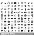 100 audio icons set simple style