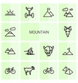 14 mountain icons vector image vector image
