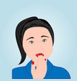 a girl trying to avoid belching vector image vector image
