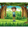 A smiling boy in the woods vector image vector image
