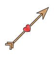 arrow with heart icon vector image