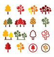 autumn trees forest park icons set vector image