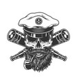 bearded and mustached sea captain skull vector image vector image