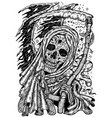 black and white engraved scary death skull or vector image