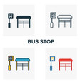bus stop outline icon thin style design from city vector image