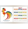 Calendar 2017 Chinese New Year Red Rooster vector image vector image