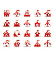 circus tent patch sticker icons set vector image vector image