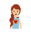 colorful caricature half body super woman with vector image vector image