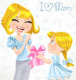 Daughter gives mom a gift for Mothers Day vector image vector image