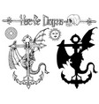 design set with dragon sitting on anchor vector image
