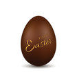 easter egg 3d chocolate brown egg happy easter vector image vector image