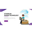 ethereum crypto currency flat poster vector image