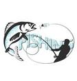 fisherman is fishing vector image vector image