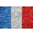 Flag of France on a brick wall vector image vector image