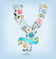 floral letter y with blue ribbon vector image vector image