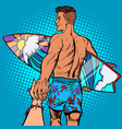 follow me surfer instructor with board vector image