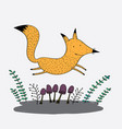 fox is running in a lawn garden and jumping vector image