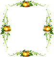 frame template with pumpkin plants vector image