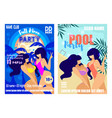 full moon and pool party banners set posters vector image vector image
