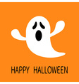 Funny flying ghost Screaming face Happy Halloween vector image vector image