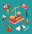 isometric law concept jury judge trial vector image