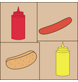 ketchup mustard roll sausage on cards vector image