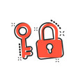 key with padlock icon in comic style access login vector image