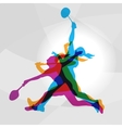 Modern Badminton Women Players In Action Logo vector image