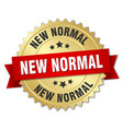 new normal round isolated gold badge vector image vector image