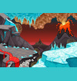 prehistoric landscape with fire and ice vector image vector image