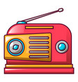 red retro radio icon cartoon style vector image vector image