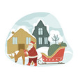 santa claus and reindeer with sled in winter city vector image